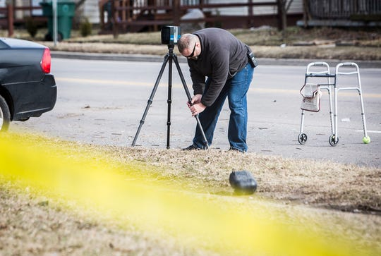 The FARO laser scanner is used at the scene of a serious wreck on Memorial Street in Muncie.