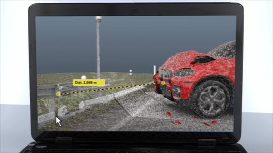 A screen shot taken from a FARO demonstration video depicting a hypothetical accident reconstruction.