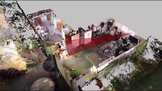 A screen shot taken from a FARO demonstration video depicting a hypothetical crime scene.