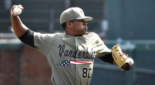 Vanderbilt's Kumar Rocker (80) pitches as Vanderbilt plays Florida at Hawkins Field Saturday, March 23, 2019, in Nashville, Tenn.