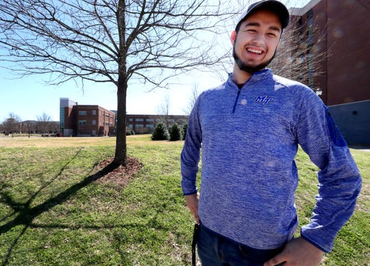 "MTSU freshman Isaac Plata has overcome homelessness and is studying for a marketing degree. ""God has got too big of plans for me to waste the opportunities I've been given,"" he said."