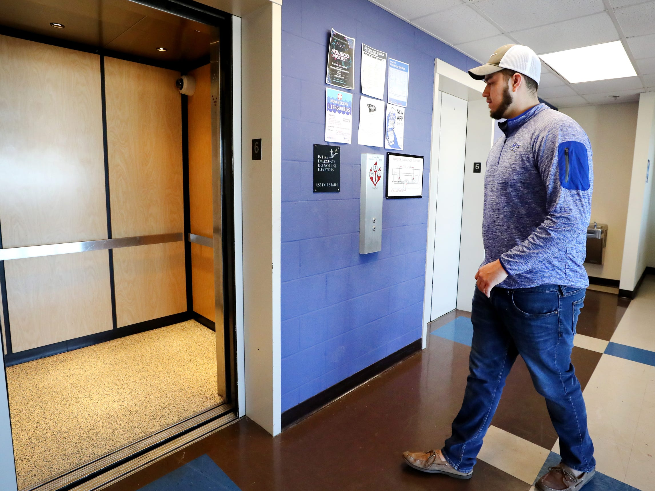 Isaac Plata gets on the elevator in Jim Cummings Hall, at MTSU on Friday, March 22, 2019.