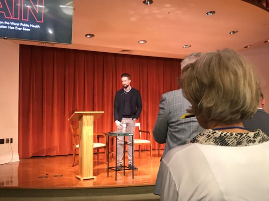 Austin Eubanks, a survivor of the Columbine shootings almost 20 years ago, shared his story at the David Lawrence Center's sixth annual Sound Minds Mental Health Symposium on Saturday.