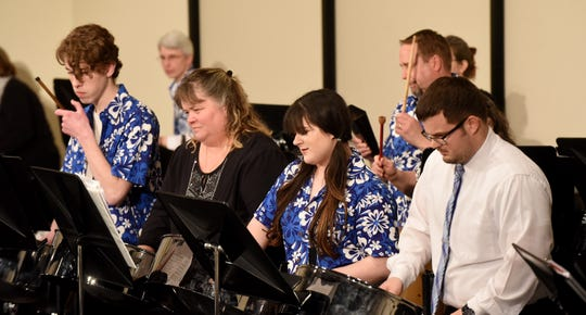 "Steel drum band Pandemonium performs ""I Say So"" by Chris Tanner during the Licking County Homeschool Band's concert and 20-year alumni reunion on Friday at Granville High School."