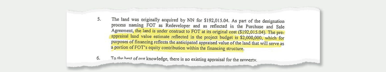 """Letter by then TEAM CEO Ryan Hill to state officials saying that a support group would purchase land for $192,000 that was expected to be valued for much more. The difference would be an """"equity contribution"""" to a project. The land was eventually appraised at $1.3 million. The public is covering the higher price, and not the actual sales price."""