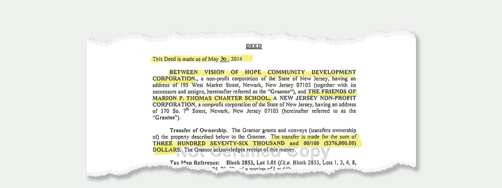 The Friends of Marion P. Thomas Charter School purchased property for  $376,000  on May 30, 2014. The same day, they sold it to a subsidiary for $2.17 million.