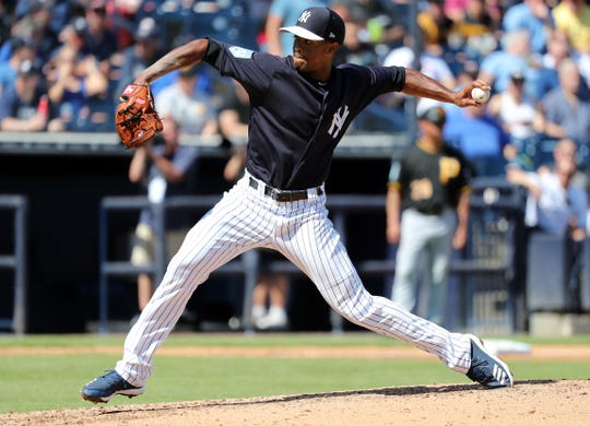 Feb 28, 2019; Tampa, FL, USA; New York Yankees relief pitcher Stephen Tarpley (71) throws a pitch during the second inning against the Pittsburgh Pirates at George M. Steinbrenner Field.