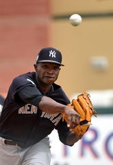 New York Yankees starting pitcher Domingo German is likely to be the No. 4 starter to open the season, said manager Aaron Boone on Saturday, March 23, 2019.