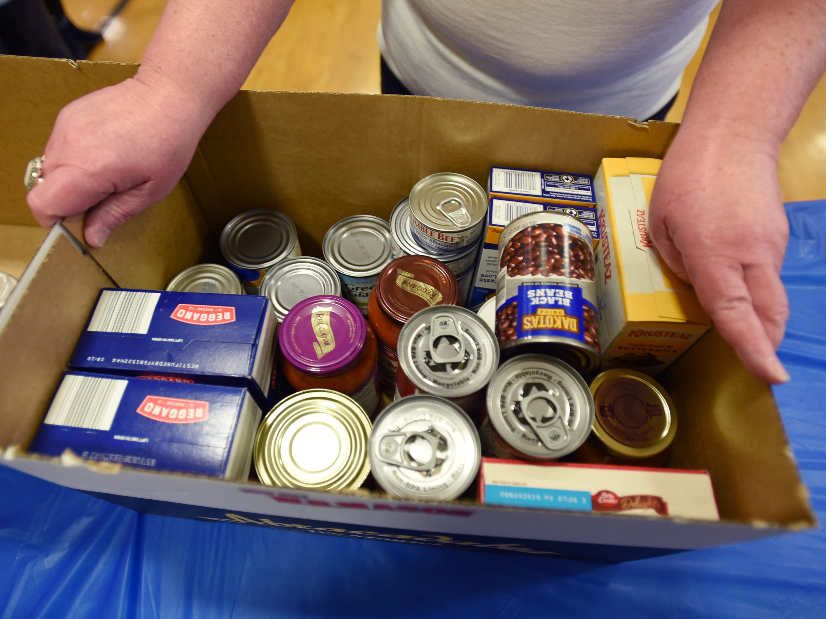 Close up photo of donated food is seen during the 3rd annual March Madness Food & Fun Day to benefit the Rutherford Food Pantry hosted by the Rutherford Education Association at Washington School in Rutherford on 03/23/2019.