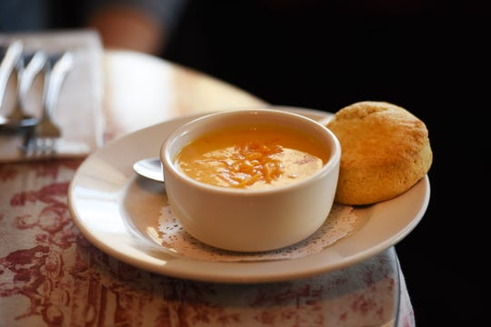 Sweet Potato Cheddar soup at  Rolling Pin Café in Westwood