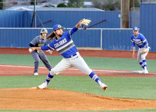 Josh Echavaria pitches against Ruidoso in the second inning of Friday's game. Carlsbad won, 10-0 in six innings.