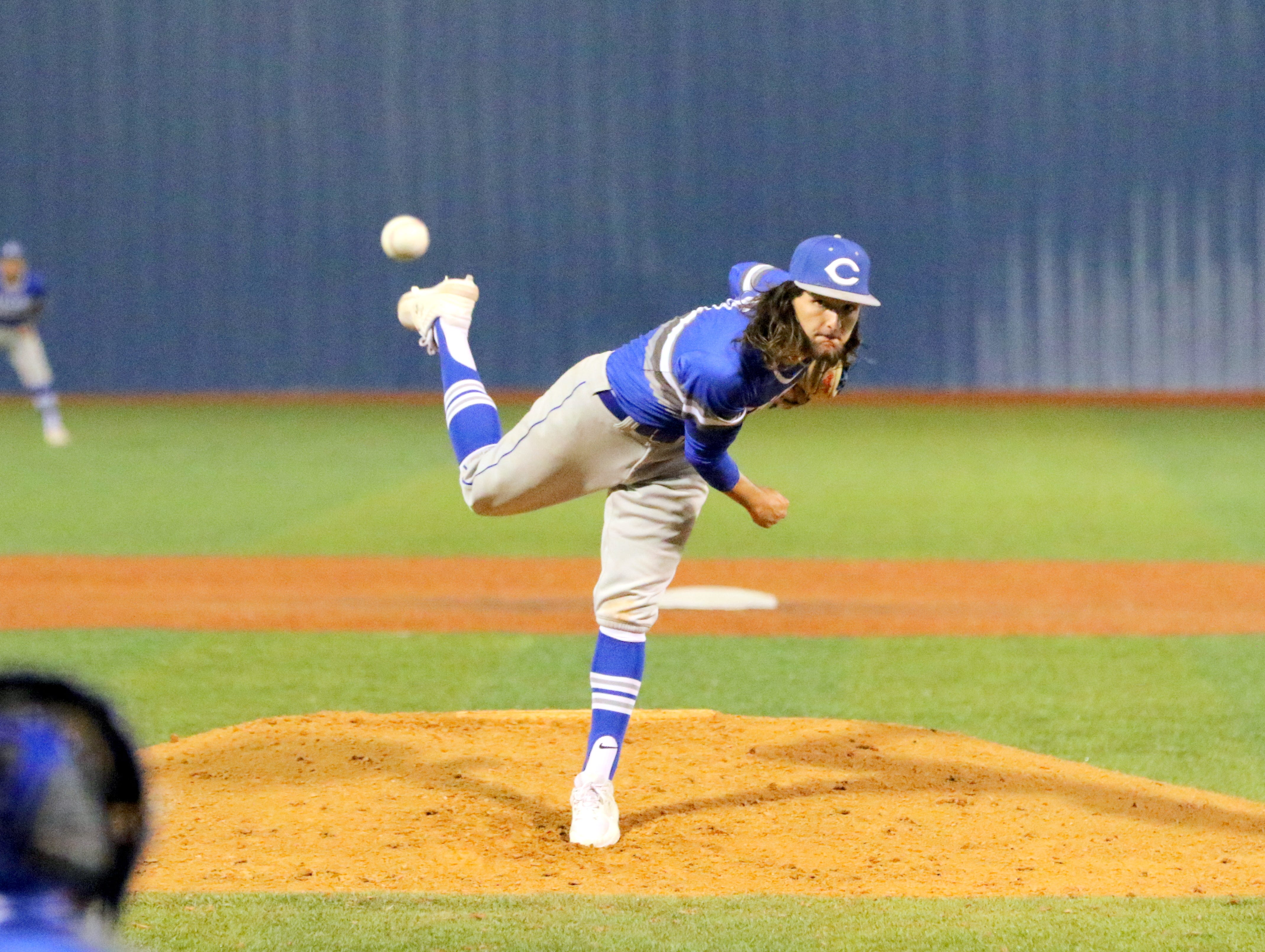 Josh Echavaria pitches against Ruidoso in the third inning of Friday's game. Carlsbad won, 10-0 in six innings.
