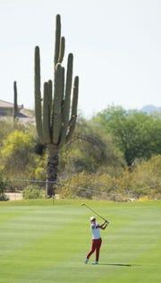 Mar 21, 2015; PHOENIX, AZ, USA; Hyo Joo Kim hits her second on the 5th hole during round three of the JTBC Founders Cup at Wildfire Golf Club at JW Marriott Phoenix Desert Ridge Resort & Spa. Mandatory Credit: Rob Schumacher-USA TODAY Sports
