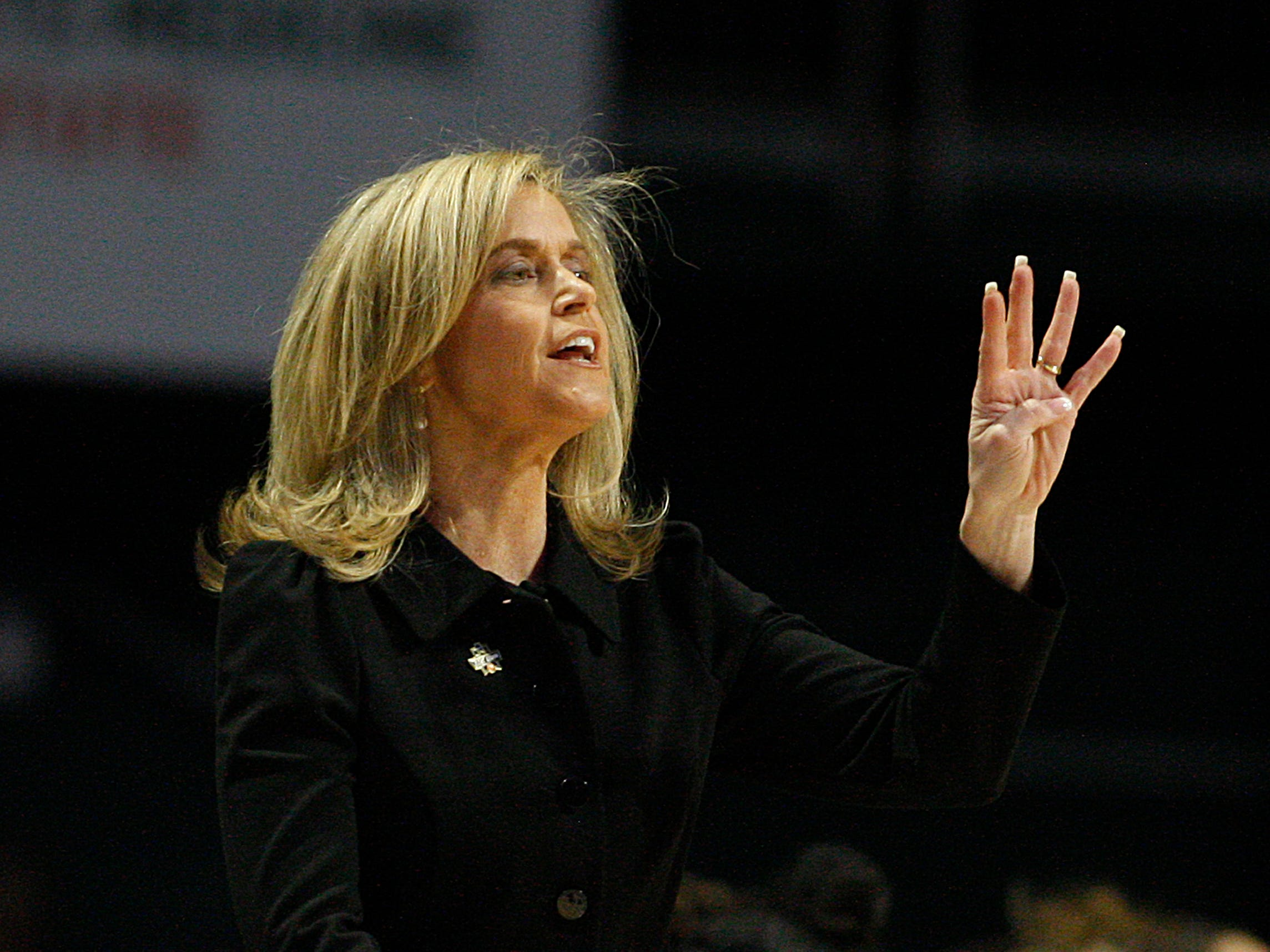 Arizona State head coach Charli Turner Thorne gestures from the sidelines during a first round women's college basketball game against UCF, in the NCAA Tournament in Friday, March 22, 2019, in Coral Gables, Fla. (AP Photo/Luis M. Alvarez)