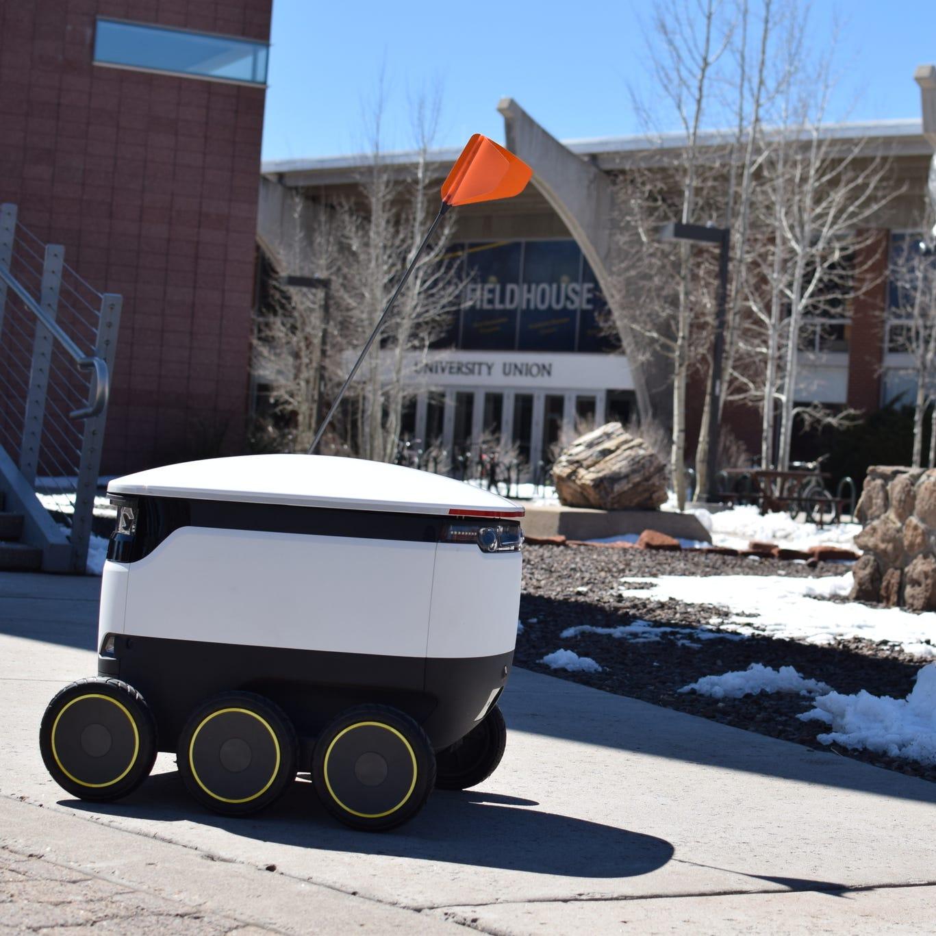 Food-delivery robots begin roaming Northern Arizona University's campus in Flagstaff