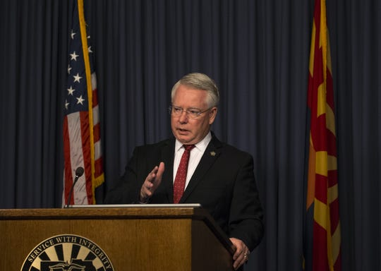 County Attorney Bill Montgomery speaks at a press conference June 26, 2018, at the Maricopa County Attorney's Office in Phoenix.