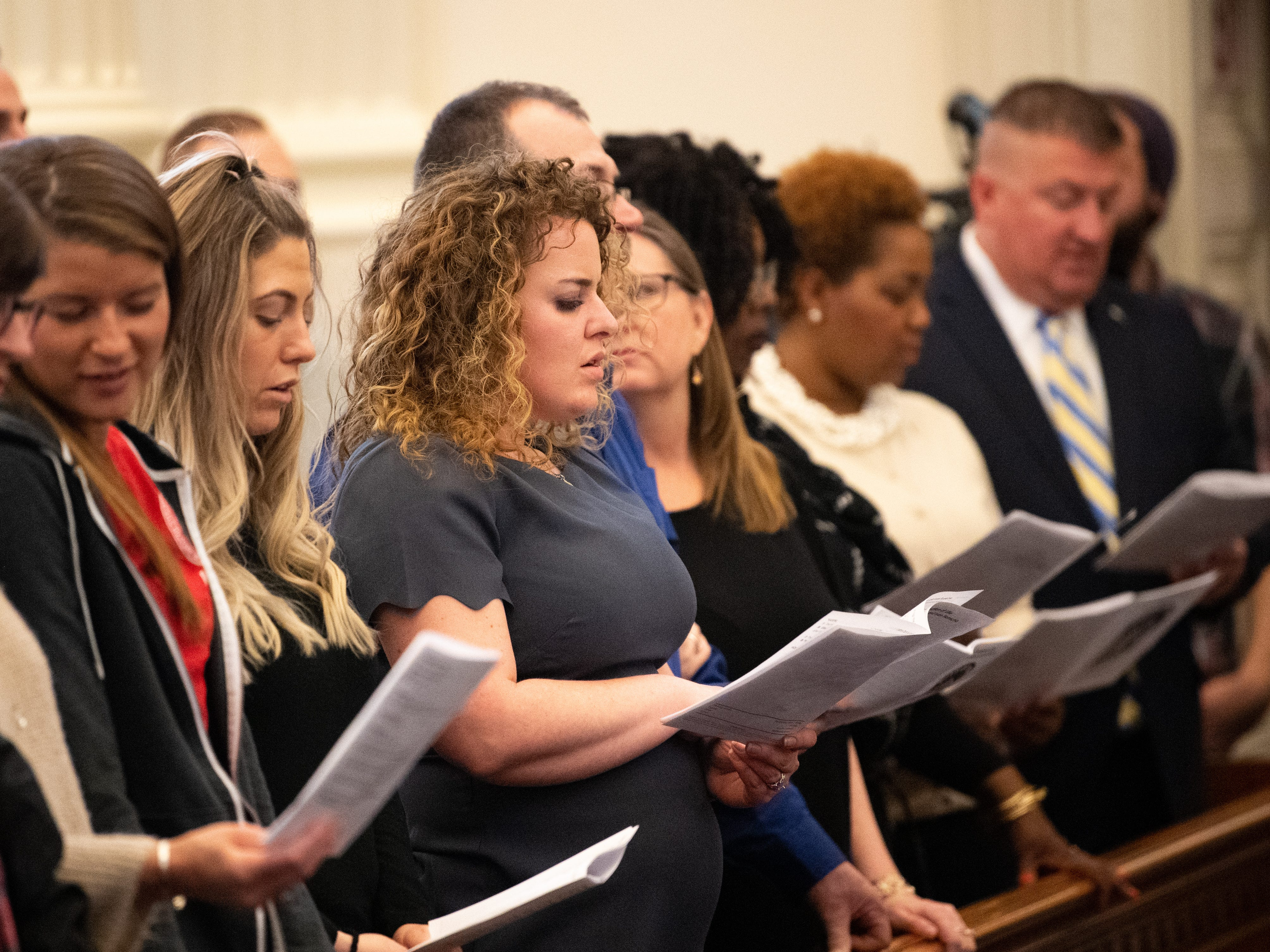During Friday's service in York, guests joined the pastor in singing hymns.