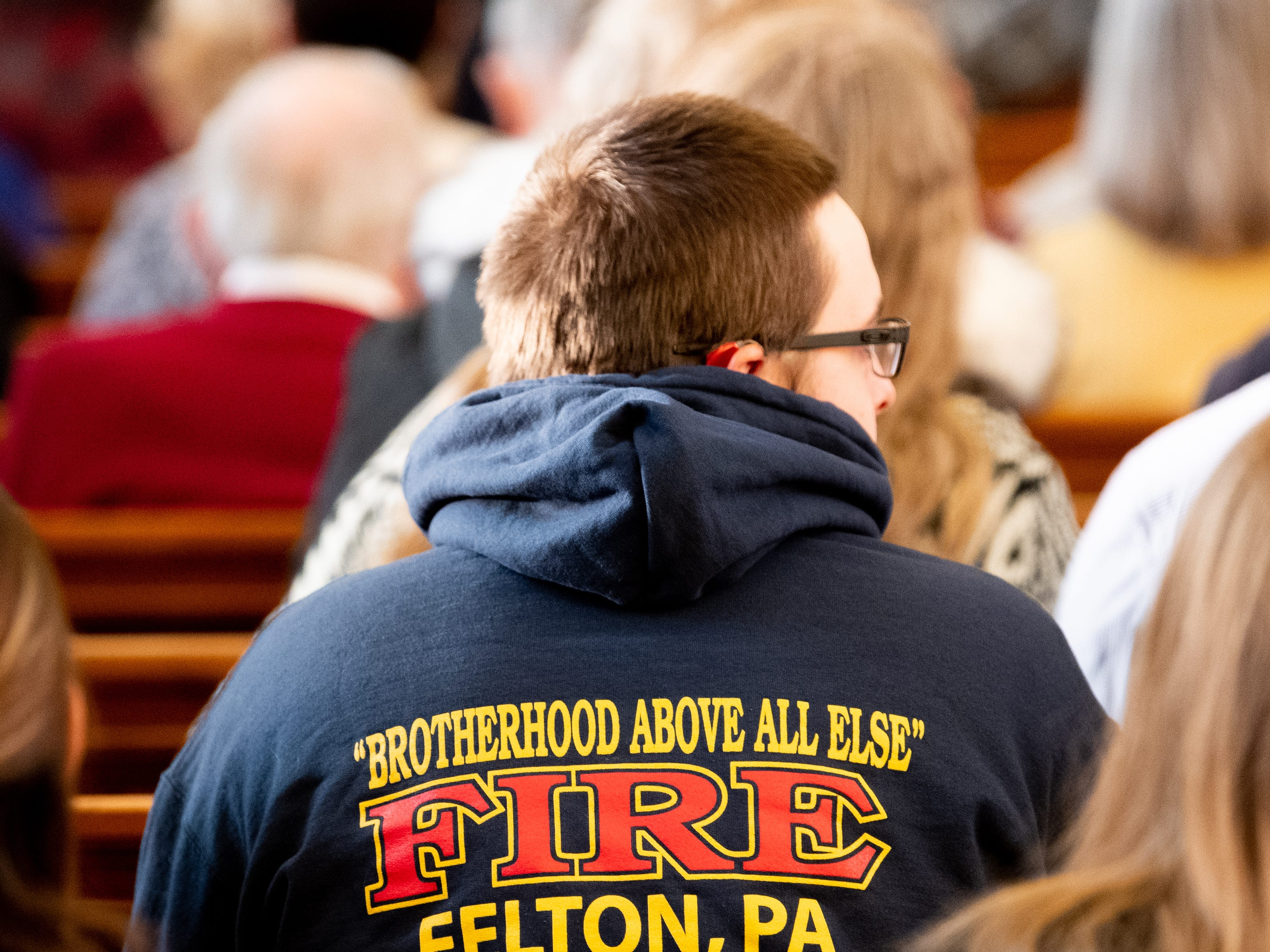 Firefighters from across the county came to hear and share stories about Flanscha and Anthony, March 22, 2019.