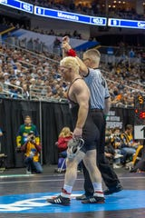 Chance Marsteller won two consolation matches during the second day of the NCAA Championships in Pittsburgh. He first beat Demetrius Romero of Utah Valley University.