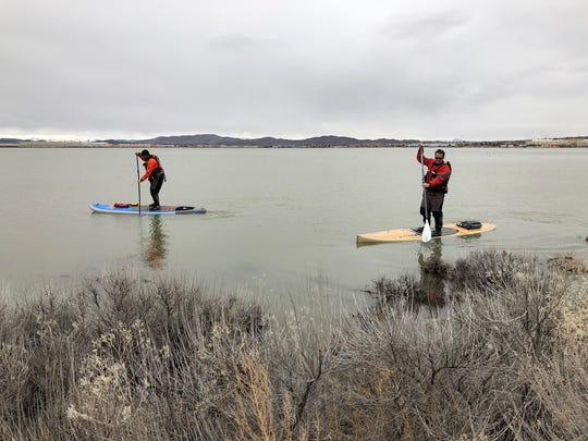 Members of the Washoe County Sheriff's Office Hasty Team search for 17-year-old Sunni Dicarrillo, who was reported missing on Sunday, March 17, 2019. Dicarrillo's kayak was found at Silver Lake.