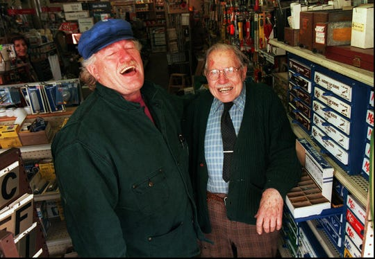 Bill Lauterbach, right, with loyal customer George Hamann pictured in the hardware store.