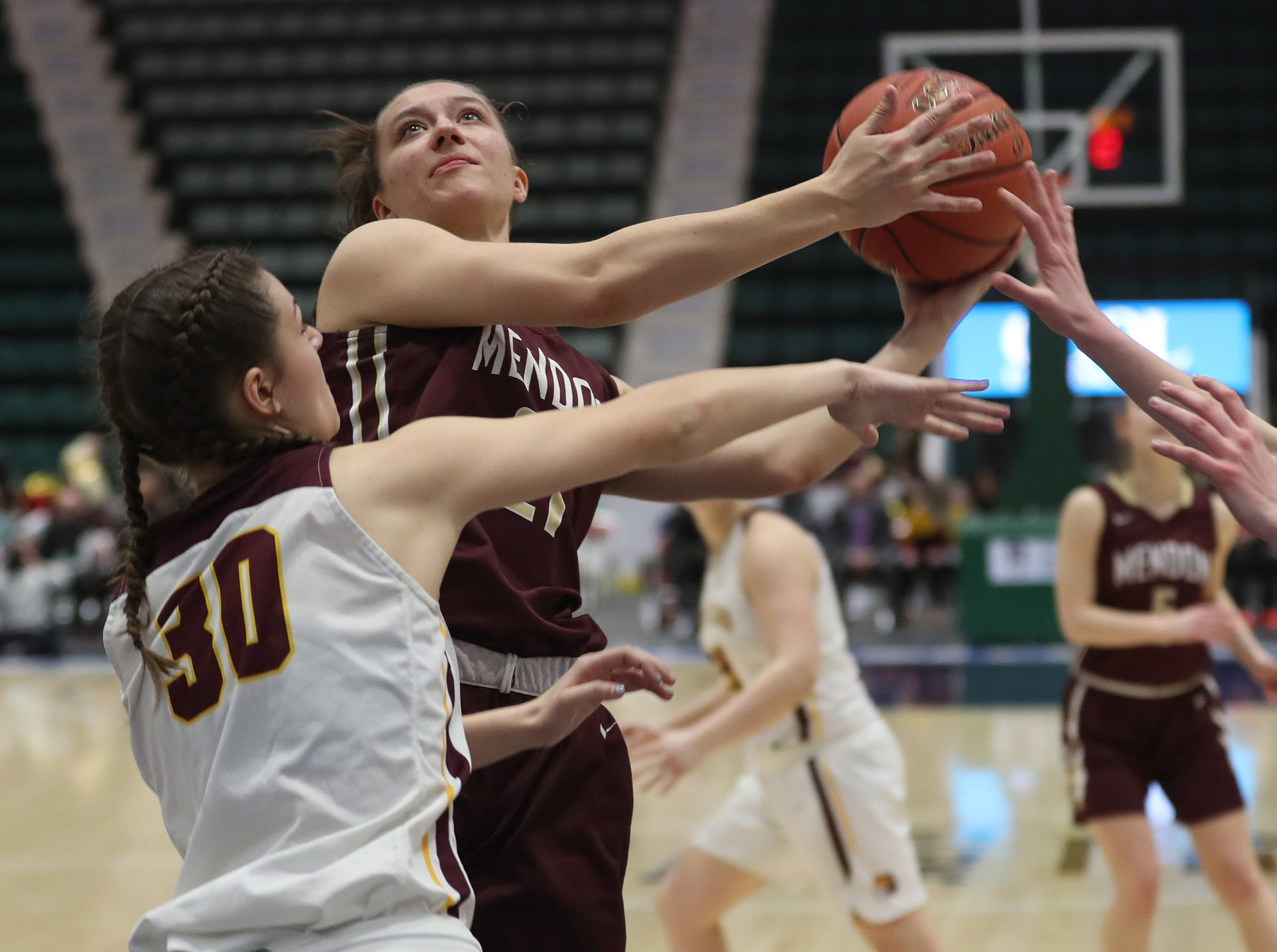 Pittsford Mendon's Alana Fursman (21) goes up for a shot against Staten Island in the championship game of the Federation Tournament at the Cool Insuring Arena in Glens Falls March 23, 2019.