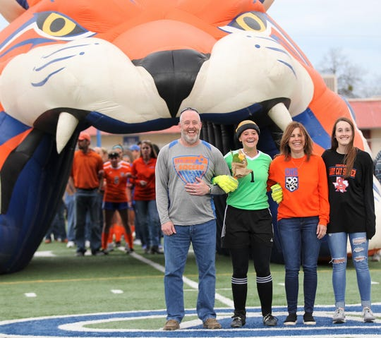 San Angelo Central High School goalkeeper Megan White was one of eight seniors who were honored before a District 3-6A match against Euless Trinity at Old Bobcat Stadium on Friday, March 22, 2019.