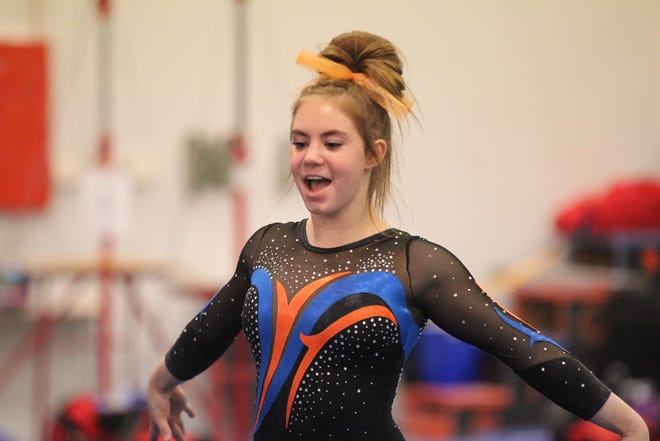 San Angelo Central's Madison Vogel competes on floor exercise during the District 2-6A Gymnastics Championships hosted by Central, Friday, March 22, 2019.