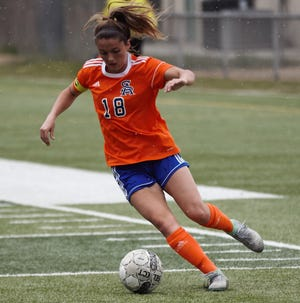 San Angelo Central's Addison Bonaventure works the ball in the District 3-6A soccer finale against Euless Trinity at Old Bobcat Stadium on Friday, March 22, 2019.