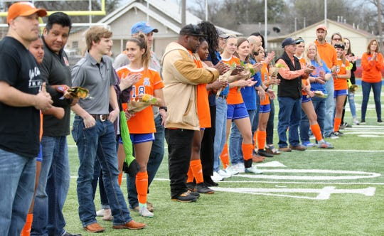 The seniors on the San Angelo Central High School girls soccer team were honored before playing Euless Trinity at Old Bobcat Stadium on Friday, March 22, 2019.