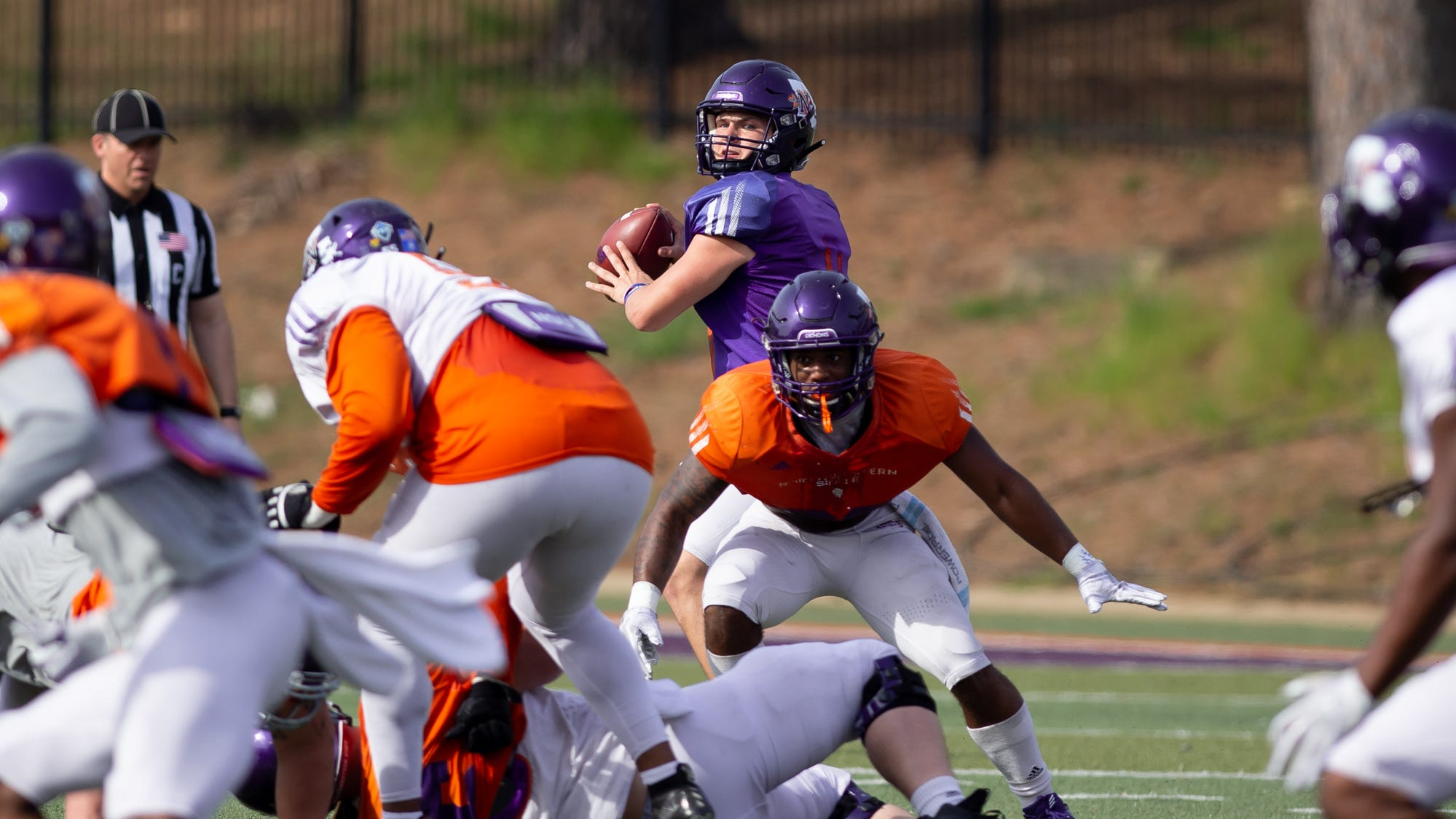 NSU quarterback Shelton Eppler looks to throw during Saturday's scrimmage.