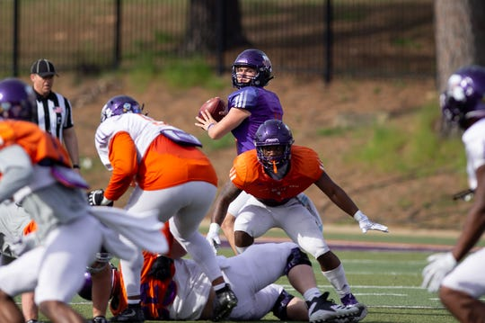 NSU quarterback Shelton Eppler looks to throw during Saturday's scrimmage.