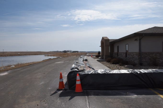 A protective wall built around a building in Dell Rapids on March 23, 2019. Significant flooding is expected around the city following near-record river flows.