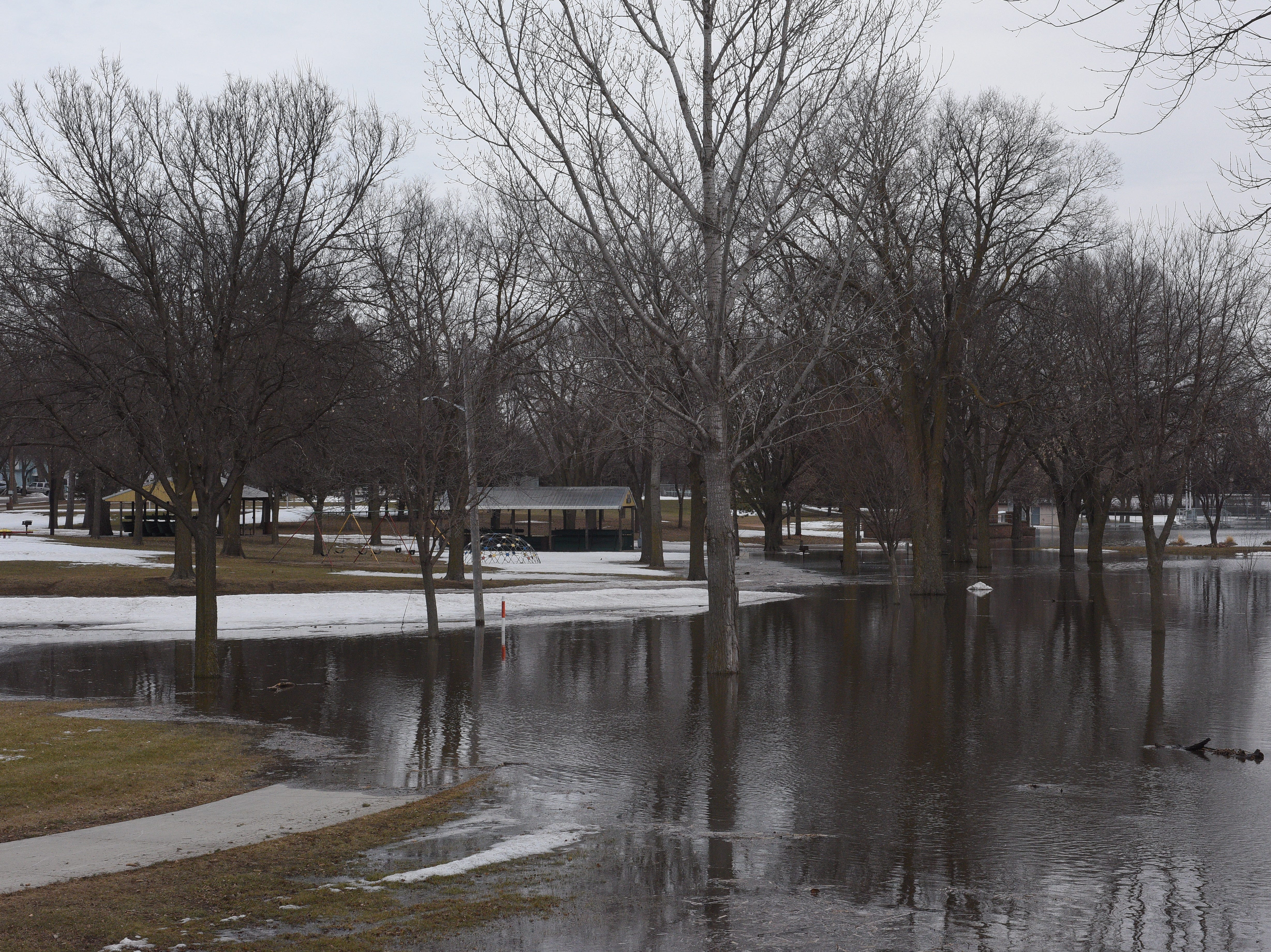 A flooding park in Dell Rapids on March 23, 2019. Significant flooding is expected around the city following near-record river flows.