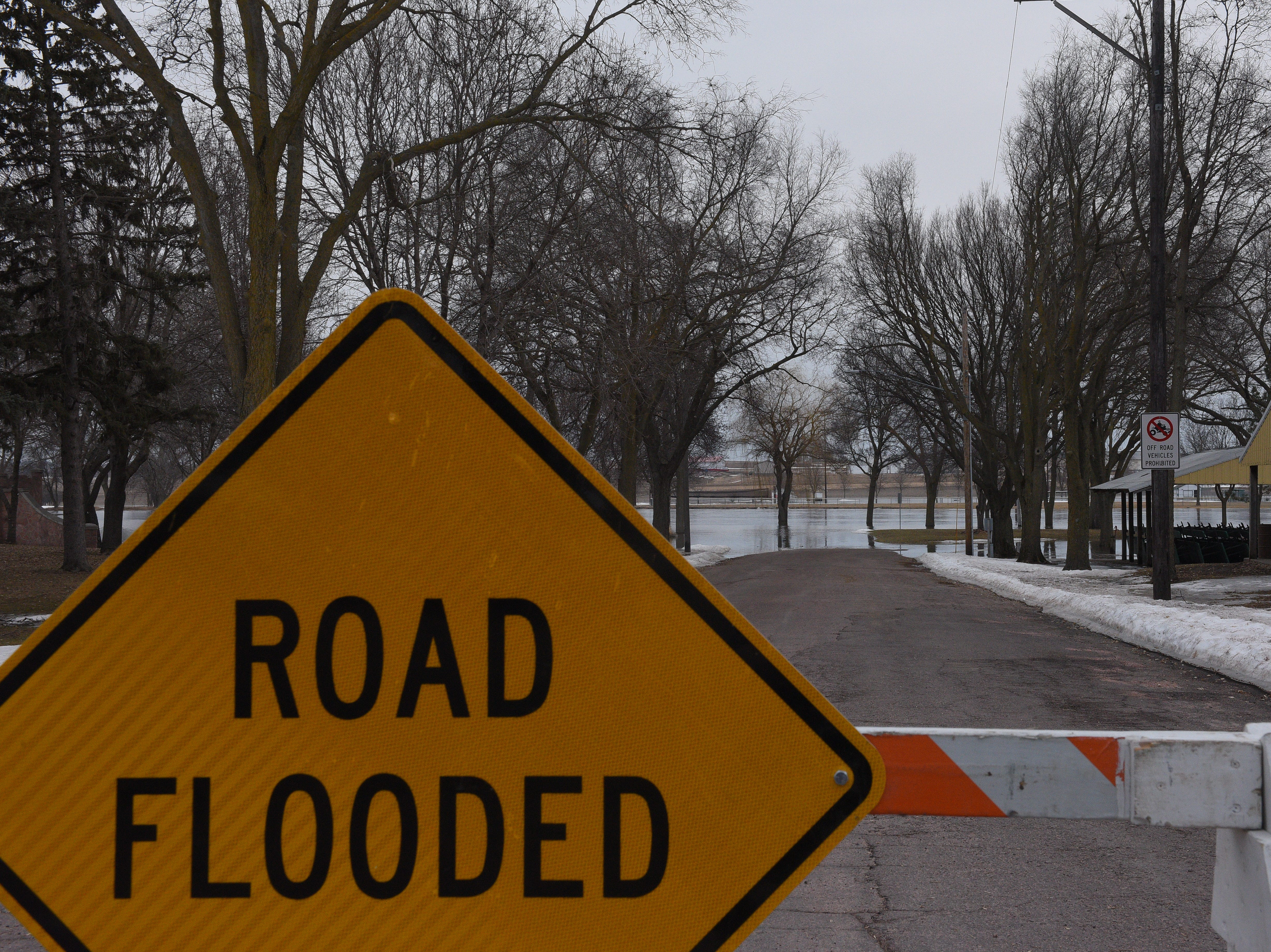 A flooded road in Dell Rapids on March 23, 2019. Significant flooding is expected around the city following near-record river flows.