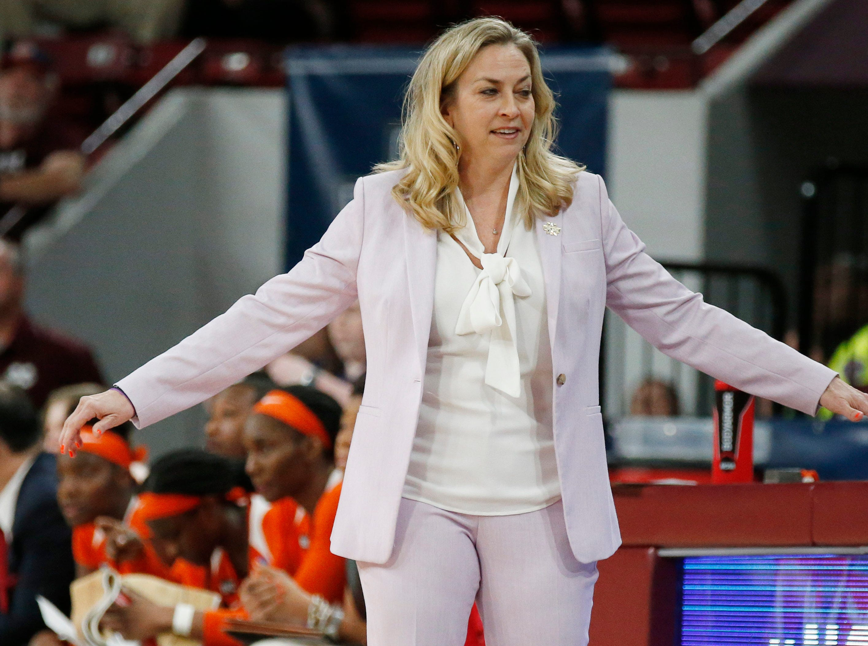Clemson head coach Amanda Butler gestures towards the officials during the second half of a first round women's college basketball game against South Dakota in the NCAA Tournament in Starkville, Miss., Friday, March 22, 2019. (AP Photo/Rogelio V. Solis)