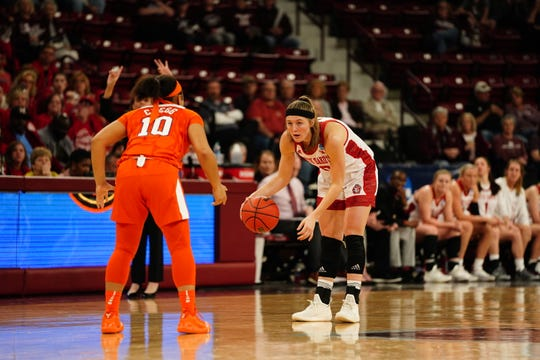 USD senior Allison Arens surveys the defense against Clemson during their NCAA tournament game in Starkville, Miss. on Friday, March 22, 2019.