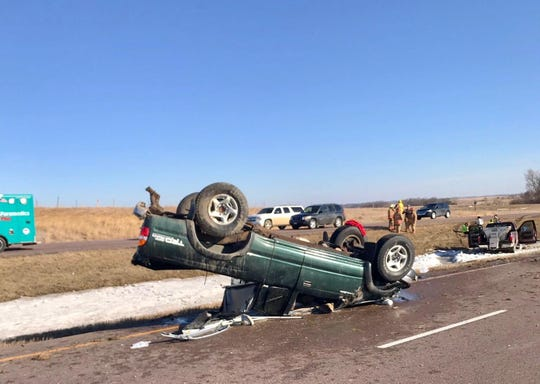 A 2001 Toyota Tacoma drove through the median, rolled and rested on its roof after a rear end crash on Interstate 29 just south of the Dell Rapids exit around 4:51 p.m. Friday.