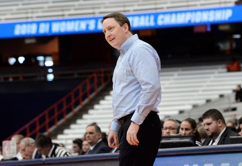 South Dakota State head coach, Aaron Johnston coaches during a first-round game against Quinnipiac in the NCAA women's college basketball tournament in Syracuse, N.Y., Saturday, March 23, 2019. (AP Photo/Heather Ainsworth)