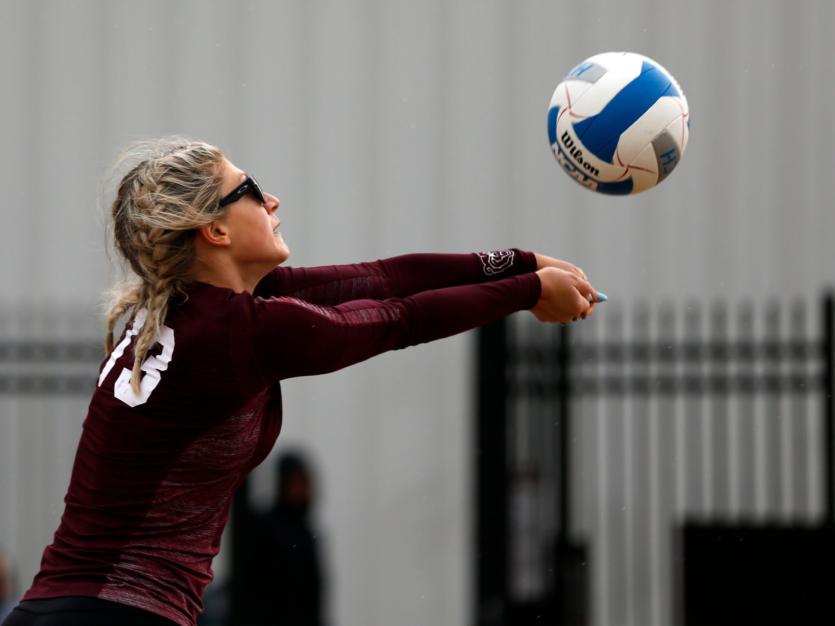 The Missouri State Bears beach volleyball team takes on the Missouri Baptist Spartans at the Betty & Bobby Allison Sand Volleyball Courts on Saturday, March 23, 2019.