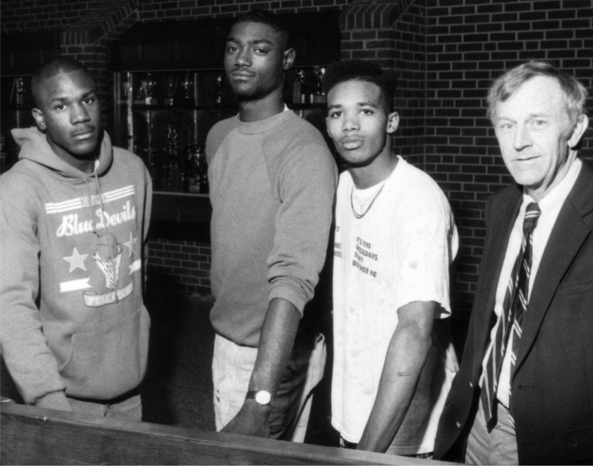 Keith Scott, third from left, was The News Leader's 1990 offensive player of the year after helping lead his team to a state championship. With Scott are, from left, Jo Jo Stuart, Reggie Waddy and Coach Paul Hatcher.