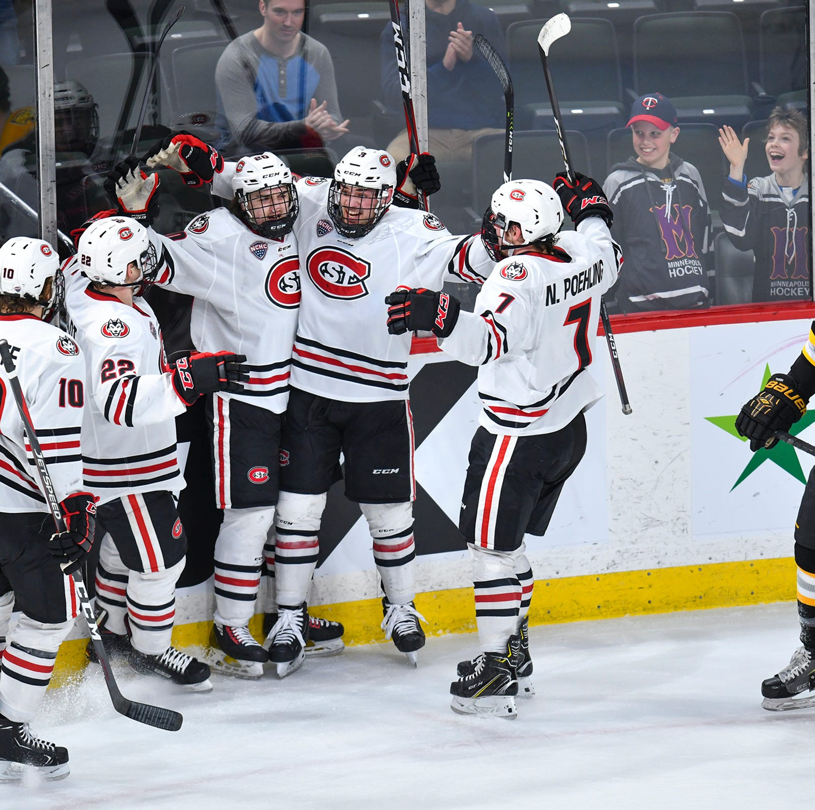 St. Cloud State players celebrate their second goal of the first period against Colorado College during the NCHC Frozen Faceoff semifinals Friday, March 22, at the Xcel Energy Center in St. Paul. St. Cloud State won 5-2 and will advance to the championship game Saturday.