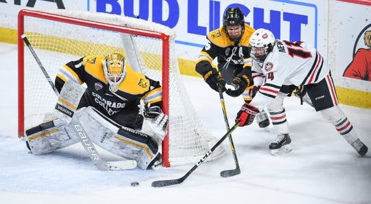 St. Cloud State's Patrick Newell takes a shot on Colorado College goaltender Alex Leclerc during the NCHC Frozen Faceoff semifinals Friday, March 22, at the Xcel Energy Center in St. Paul.