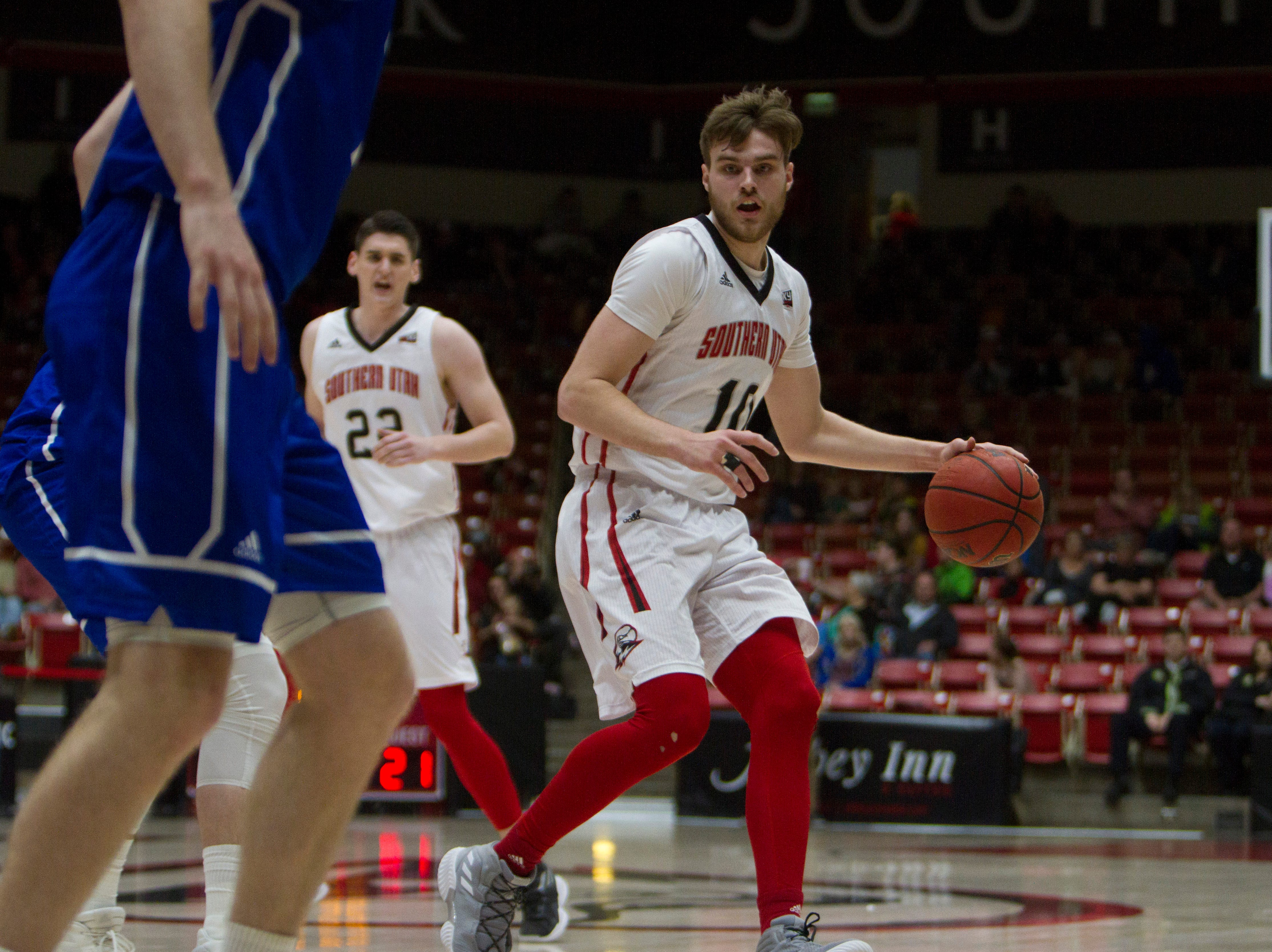 Southern Utah University basketball defeats the Drake Bulldogs 80-73 in overtime Friday, March 22, 2019.