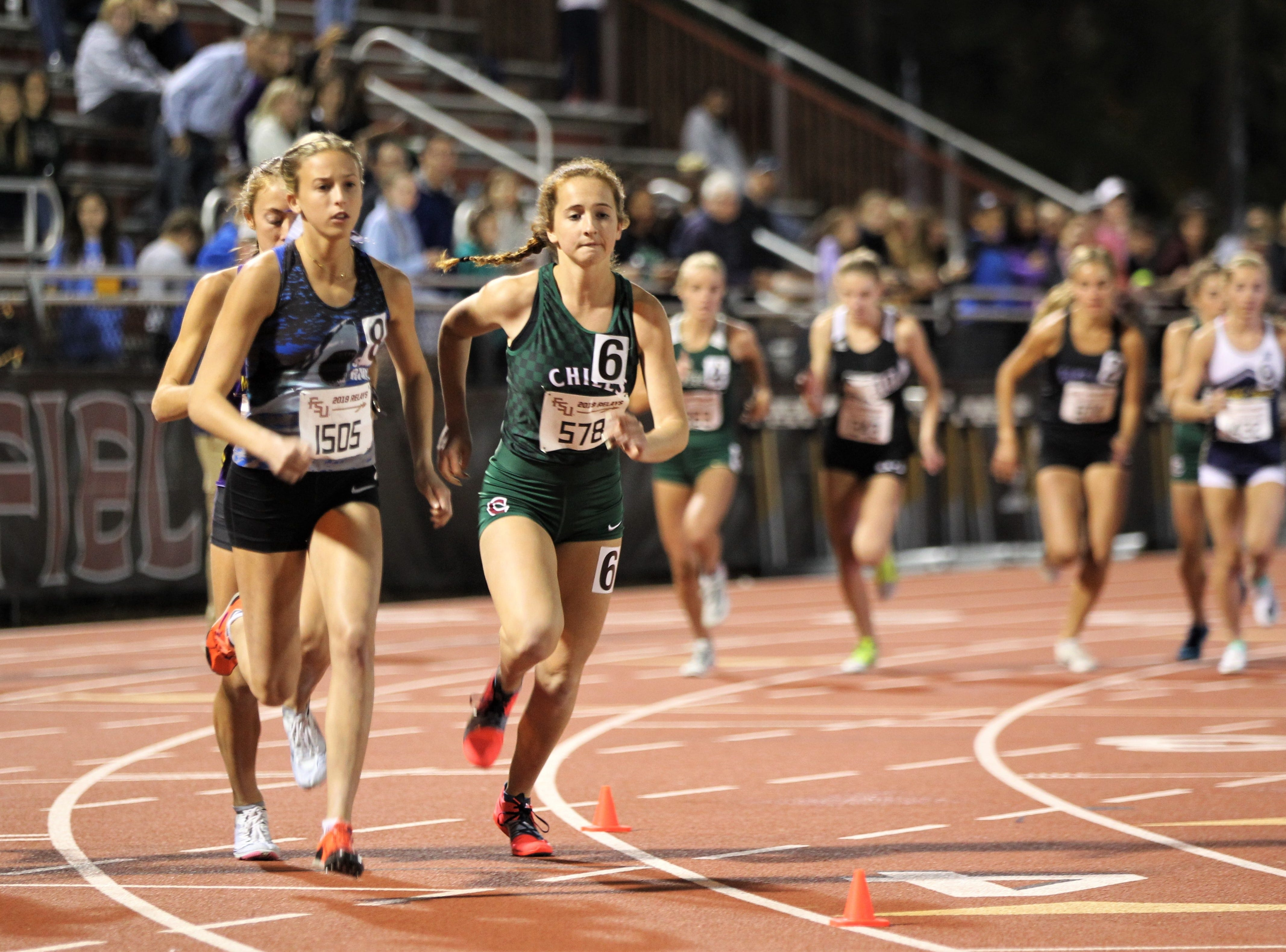 Chiles senior Emily Culley competes in the 3200-meter invitational race during the 40th annual FSU Relays at Mike Long Track on Friday night, March 22, 2019.