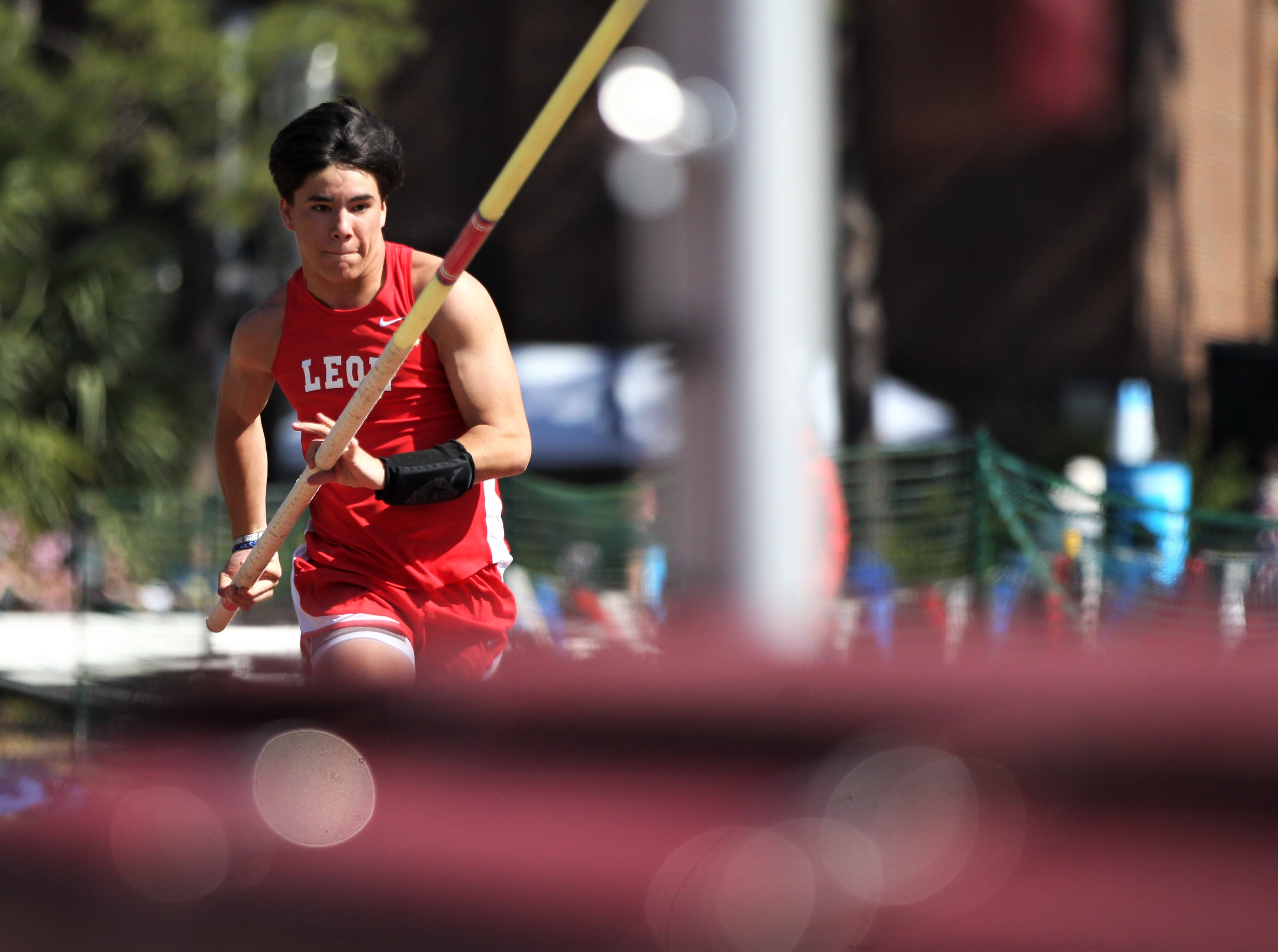 Leon senior Patrick Campo pole vaults during the 40th annual FSU Relays at Mike Long Track on Saturday, March 23, 2019.