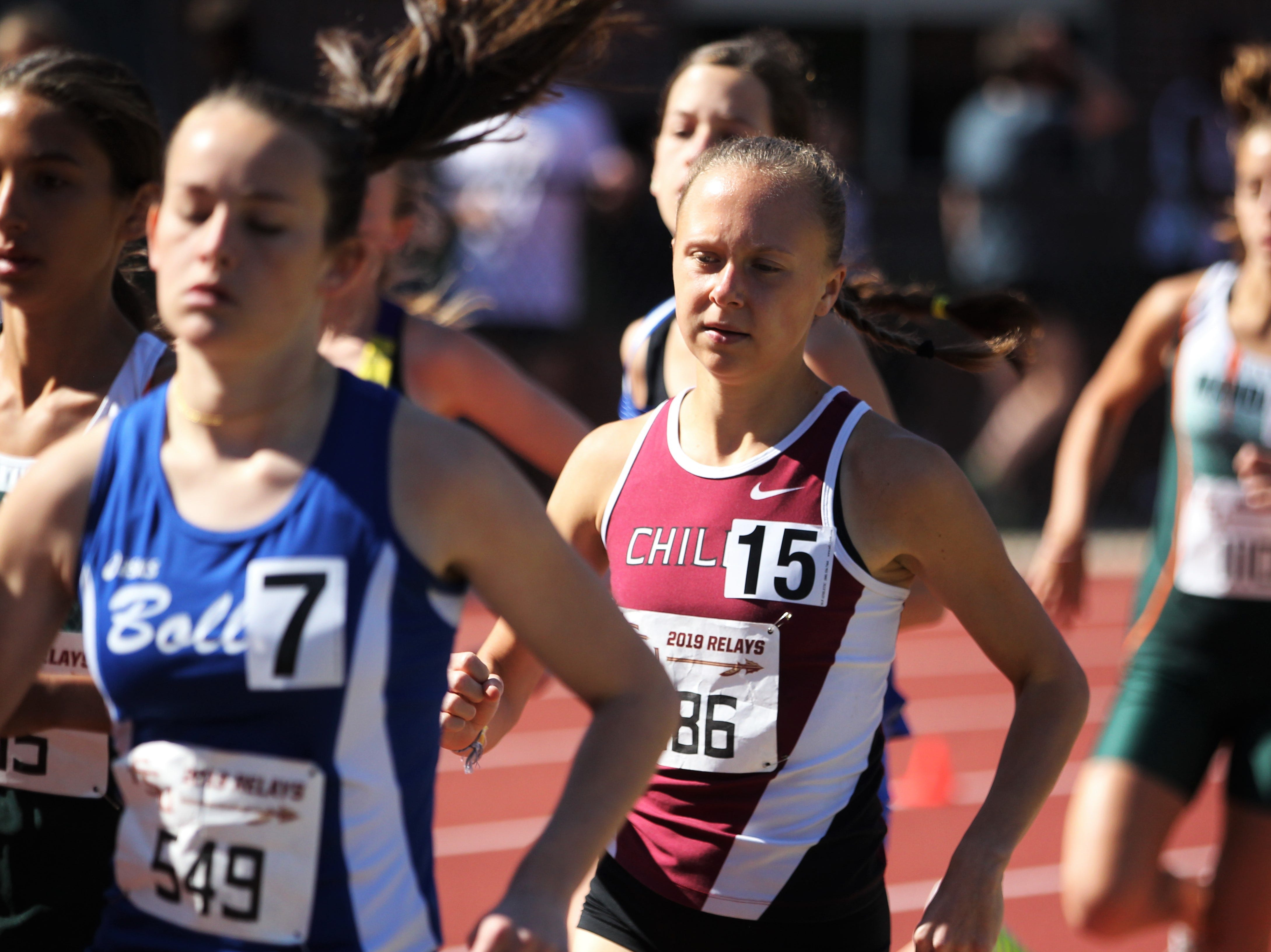 Chiles senior Abby Schrobilgen runs the 1600 during the 40th annual FSU Relays at Mike Long Track on Saturday, March 23, 2019.