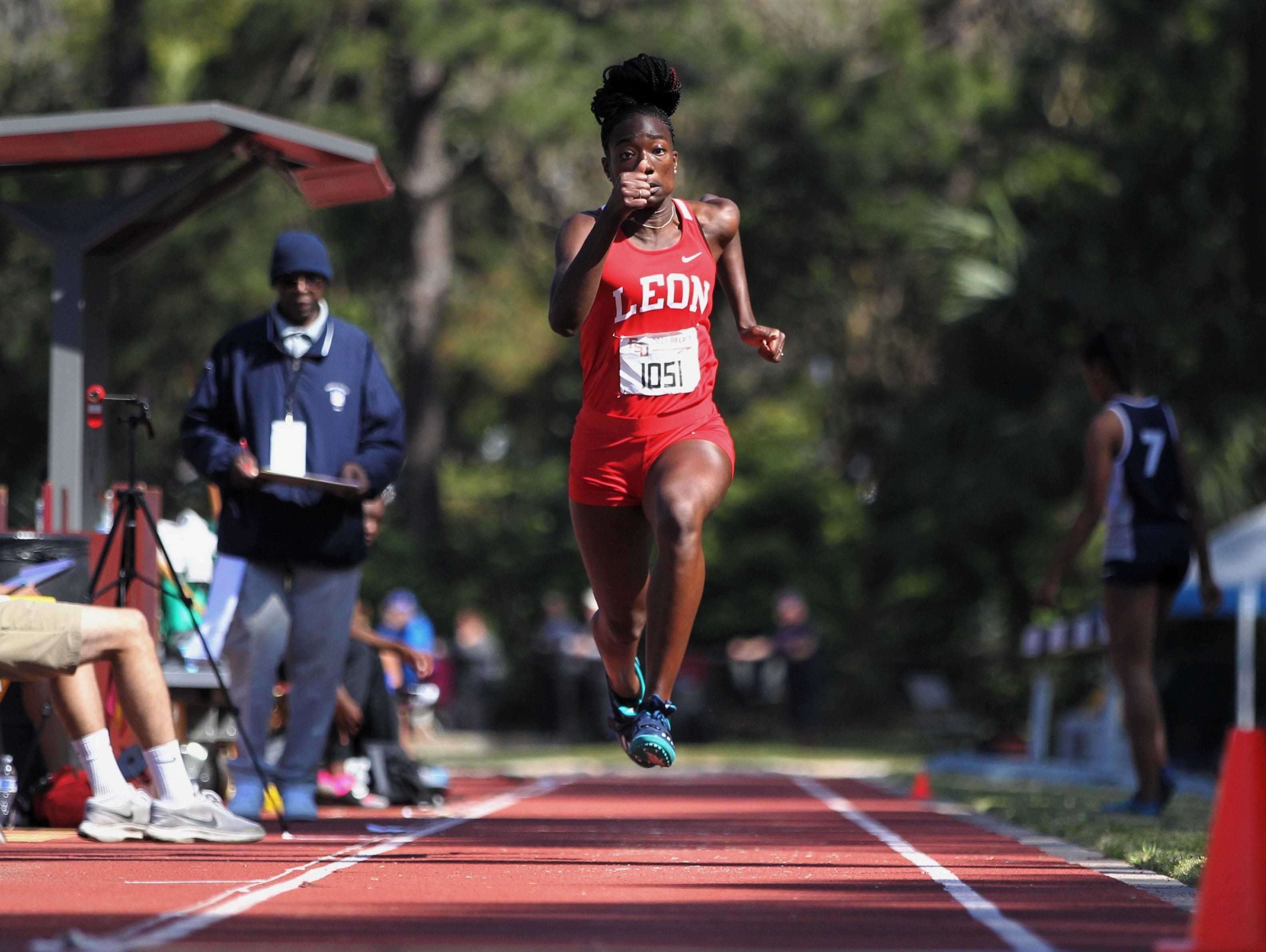 Leon sophomore Nadia Collins long jumps during the 40th annual FSU Relays at Mike Long Track on Saturday, March 23, 2019.