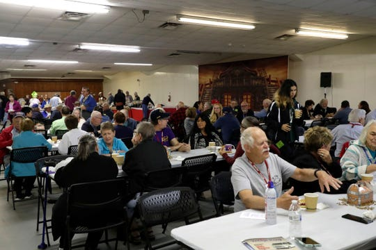 The dining hall for the GMC Motorhomes International 2019 Spring Convention at the North Florida Fairgrounds filled with motorhome enthusiasts eating breakfast Saturday, March 23, 2019.