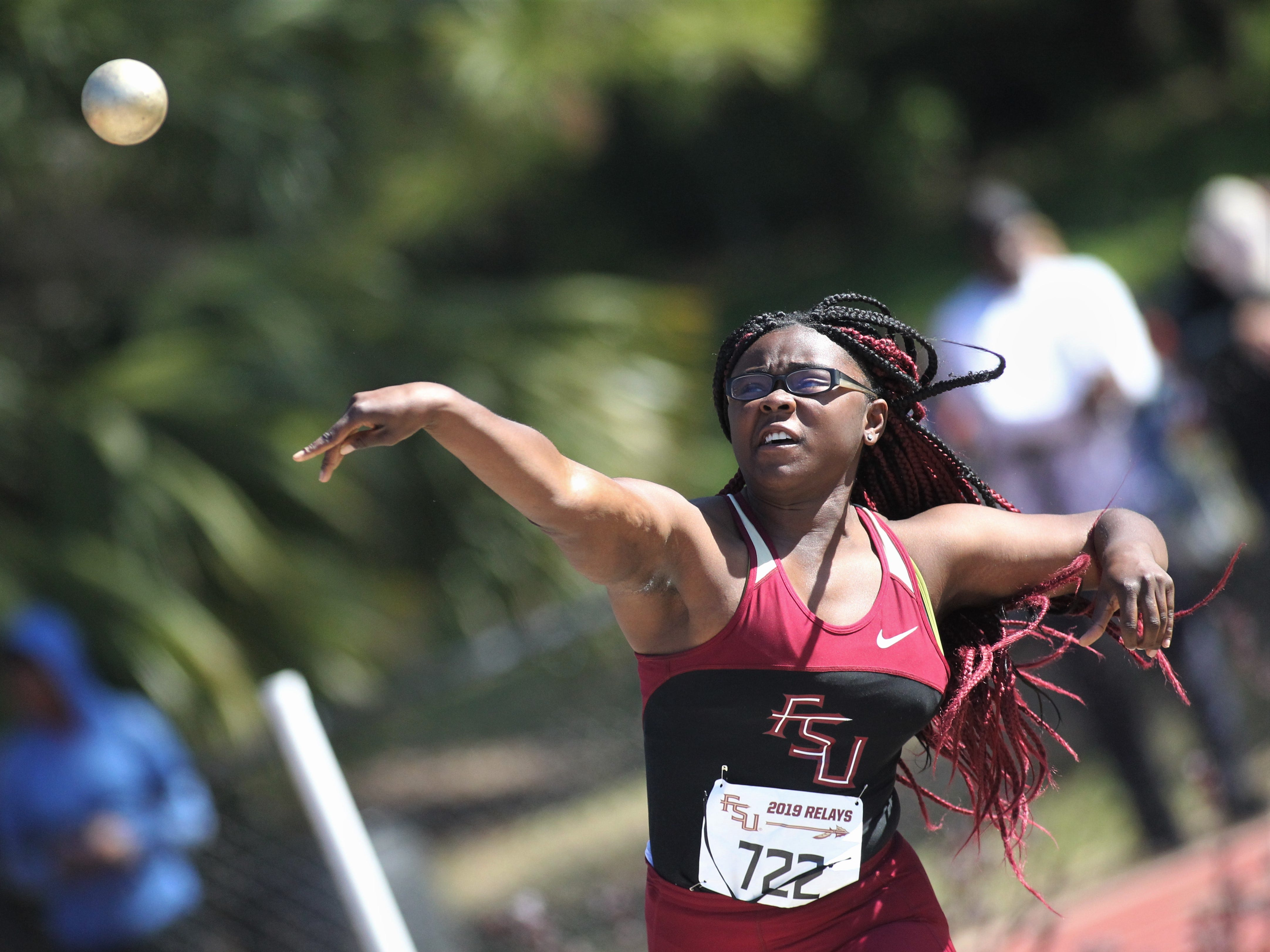 Florida High senior Antonia Thomas throws shot put during the 40th annual FSU Relays at Mike Long Track on Saturday, March 23, 2019.